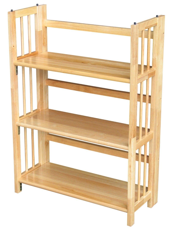 3 shelf folding bookcase in natural wood finish 3 Shelf Folding Bookcase Storage Shelves in Natural Wood Finish  3 shelf folding bookcase in natural wood finish