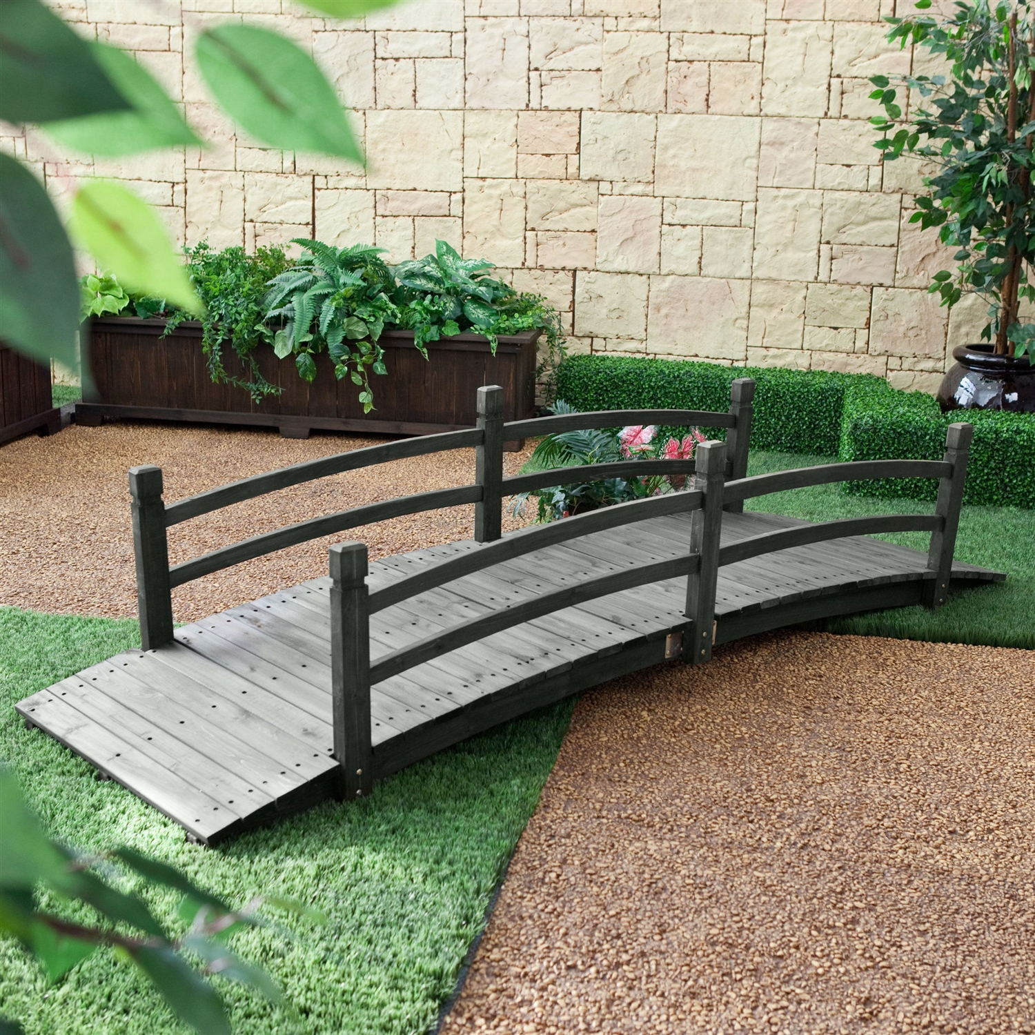 8 ft outdoor garden bridge with handraisl in weather resistant dark wood stain