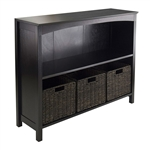 Espresso 3 Tier Bookcase Shelf Dresser with 3 Storage Baskets