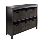 Espresso 3 Tier Bookcase Shelf Dresser with 6 Storage Baskets