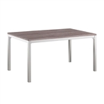 Modern Dining Table with Grey Chrome Frame and Wooden Top