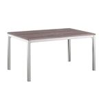 现代餐桌,灰色铬框架和木顶