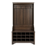 Dark Brown Espresso Entryway Hall Tree Shoe Cubbie Coat Rack