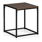 Modern Black Metal End Table Nightstand with Dark Walnut Wood Finish Top