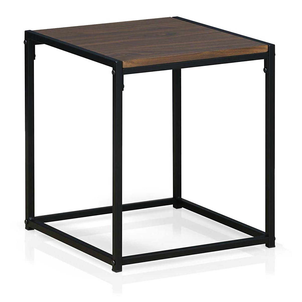 Modern Black Metal End Table Nightstand With Dark Walnut Wood Finish Top