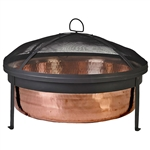 Solid 100-Percent Copper Fire Pit with Stand Screen and Cover