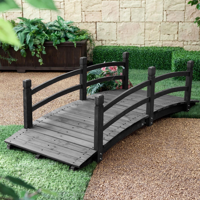 6Ft Outdoor Wooden Garden Bridge with Handrails in Dark Charcoal