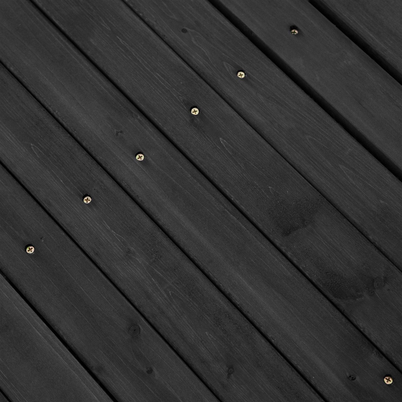 6-ft outdoor wooden garden bridge with handrails in dark charcoal
