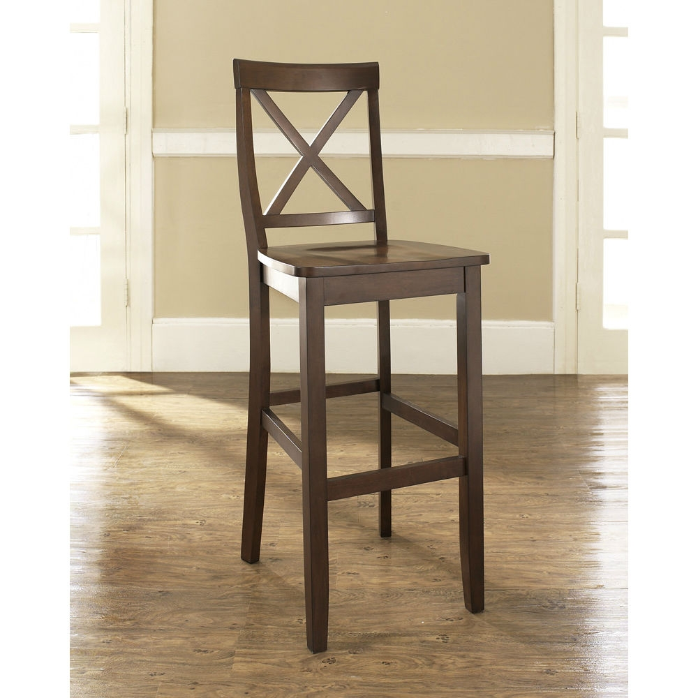 Set of 2 - X-Back 30-inch Solid Wood Barstool in Mahogany Finish