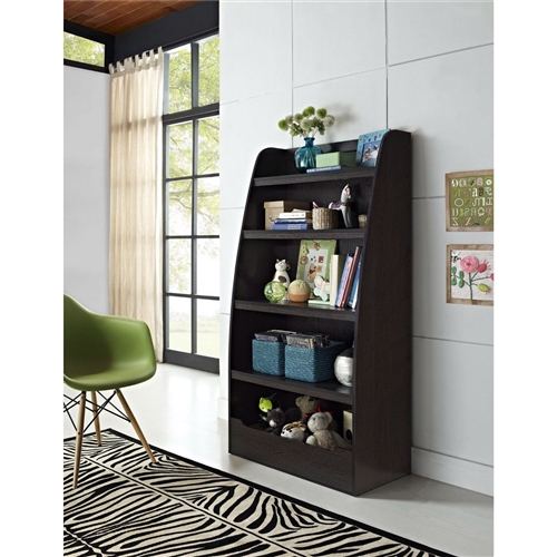 Kids 4-Shelf Bookcase in Espresso Wood Finish Childs Bedroom