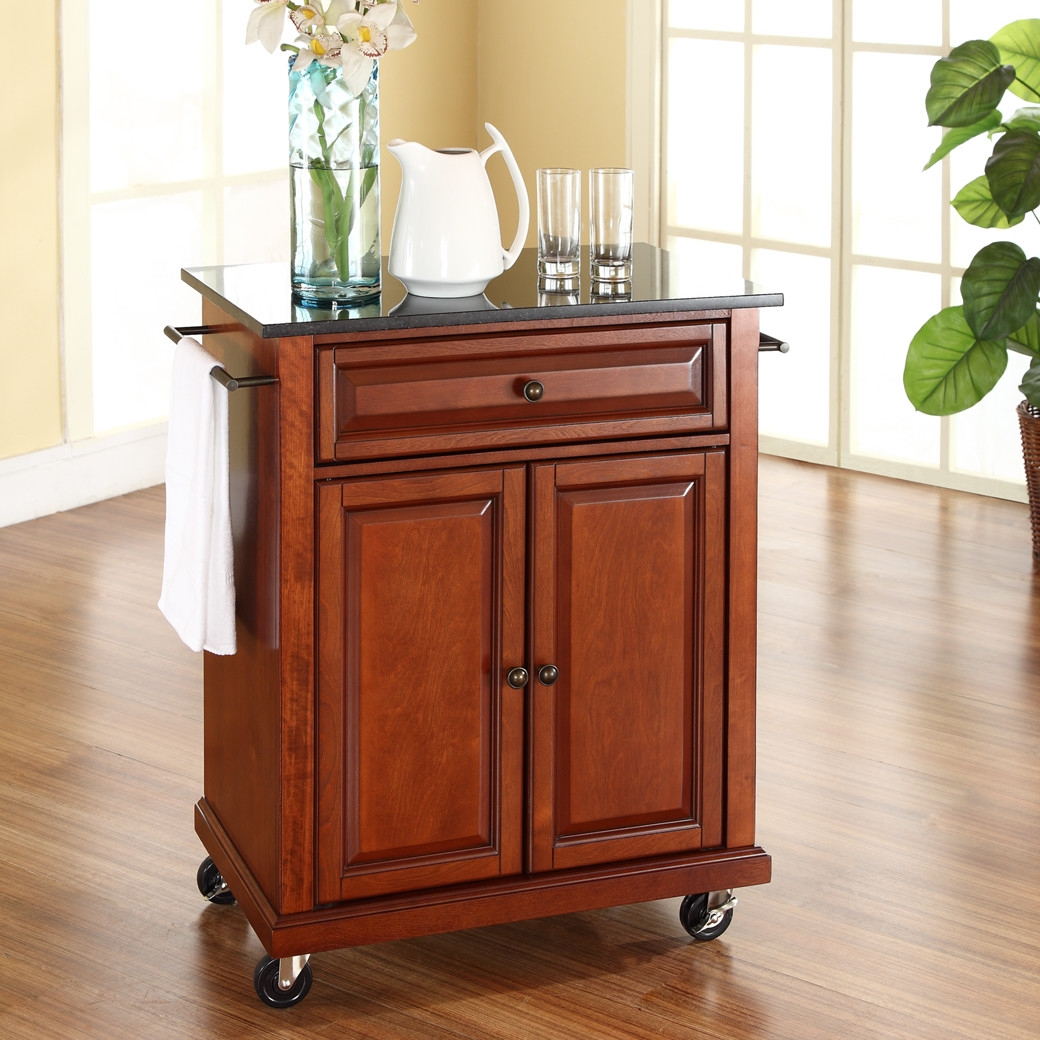 kitchen island with wheels cherry portable kitchen island cart w granite top locking wheels fastfurnishings com 883