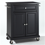 Black Mobile Kitchen Cart Island with Granite Top with Locking Casters