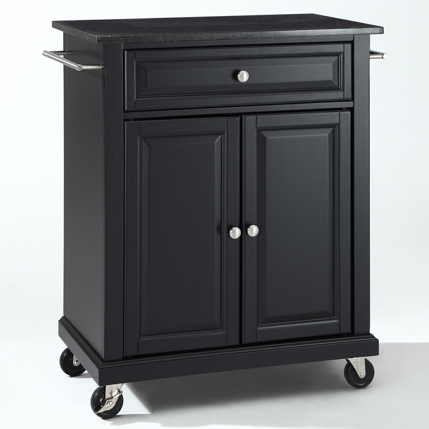 Black Mobile Kitchen Cart Island With Granite Top Locking Casters Fastfurnishings