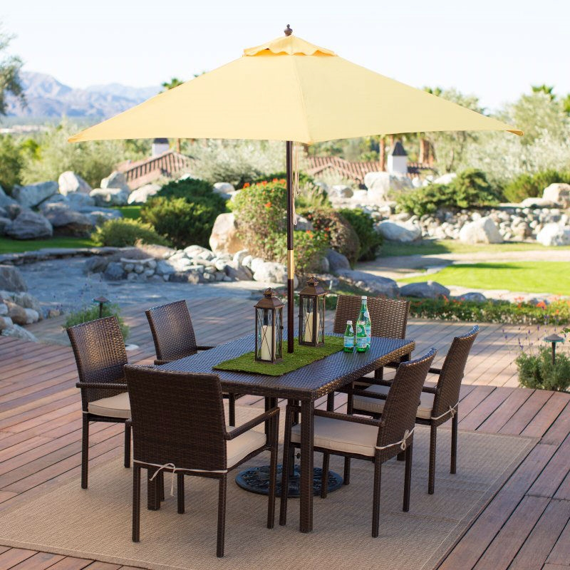 Outdoor Patio 9 Ft Wooden Market Umbrella With Yellow Shade Canopy Fastfurnishings Com