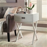 White Modern 1-Drawer End Table Nightstand with X-Legs