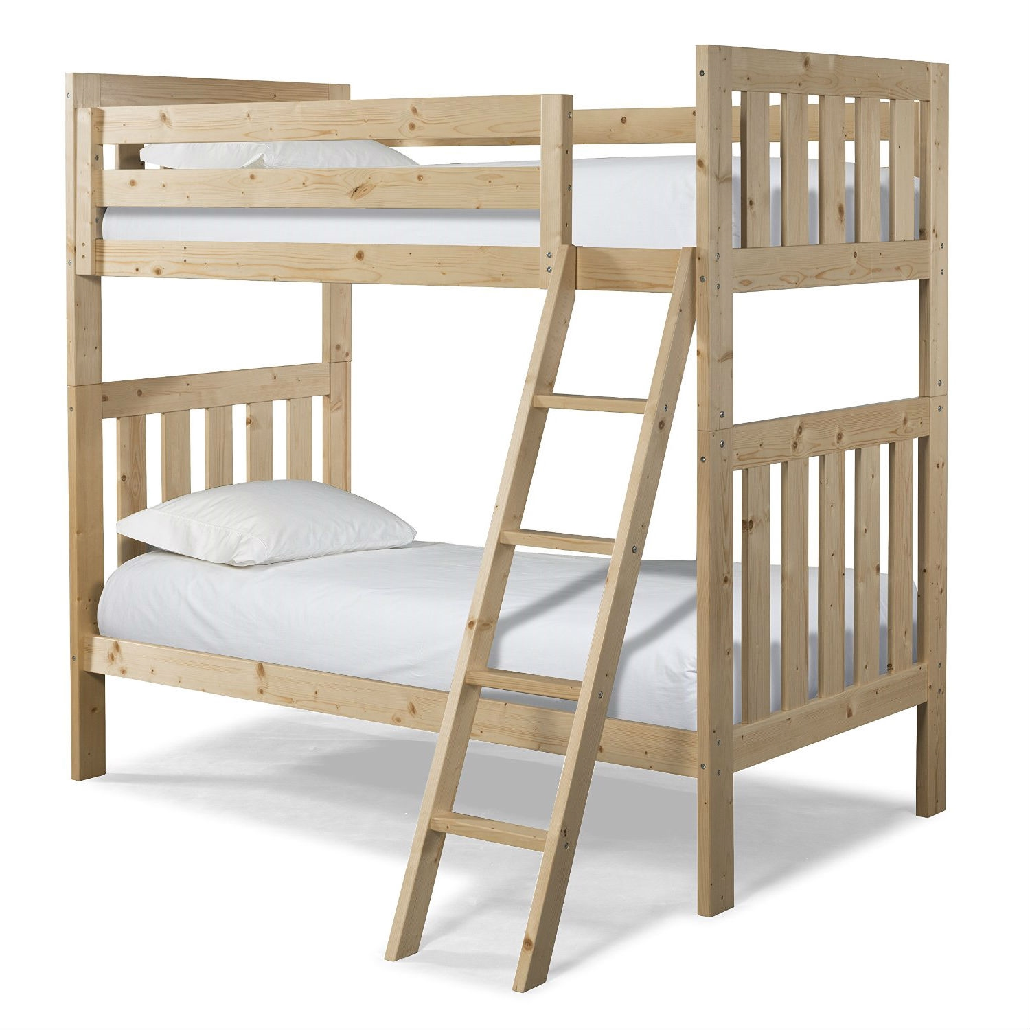 Twin Over Twin Natural Pine Wood Bunk Bed With Ladder Fastfurnishings Com