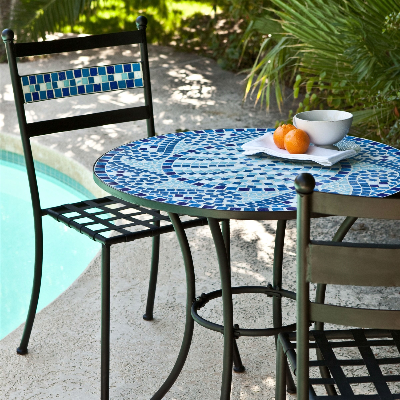 Outdoor 3Piece Aqua Blue Mosaic Tiles Patio Furniture Bistro Set