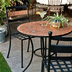 3-Piece Black Metal Patio Bistro Set with Terra Cotta Tiles