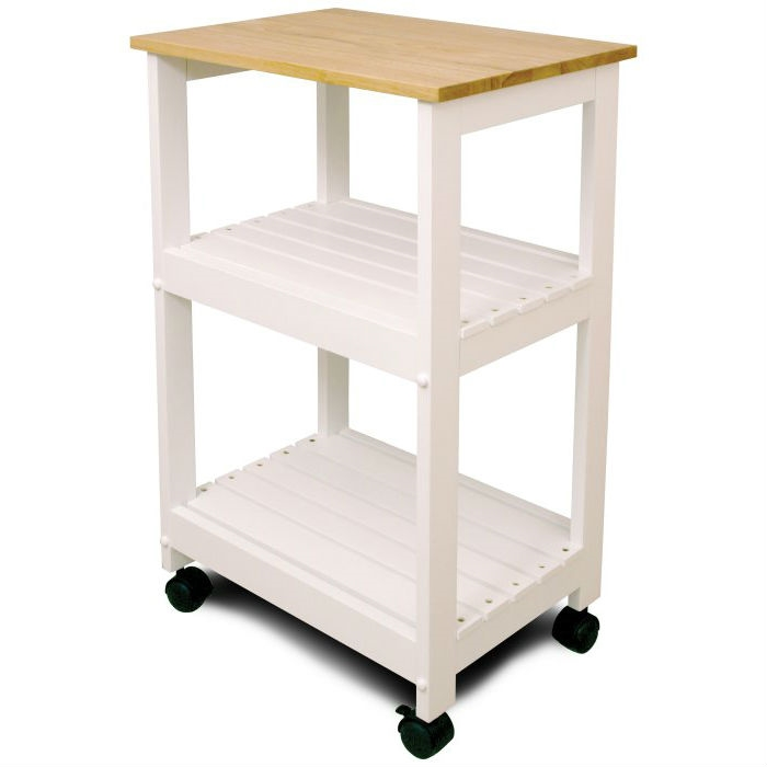 Exceptionnel White Kitchen Microwave Cart With Butcher Block Top U0026 Locking Casters