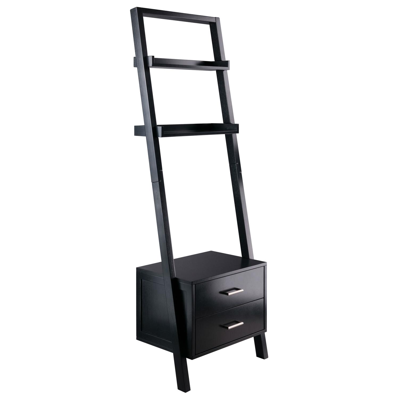Modern Black 2 Drawer Entryway Shelf Leaning Ladder Bookshelf Bookcase