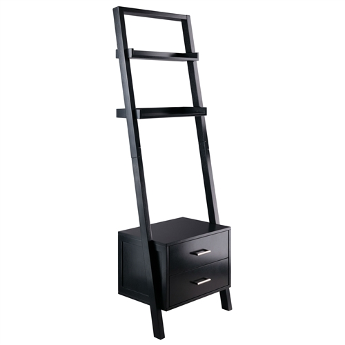 Modern Black 2 Drawer Leaning Ladder Bookshelf Bookcase