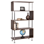 Modern Wood and Steel 4-Shelf Bookcase