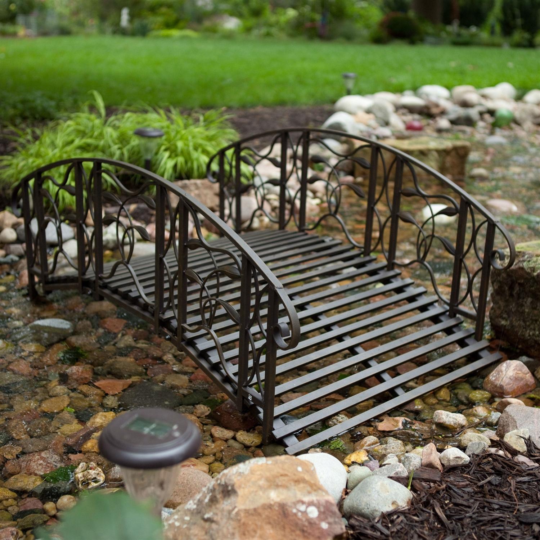 4 Foot Steel Frame Metal Garden Bridge In Rustic Weathered Black Finish