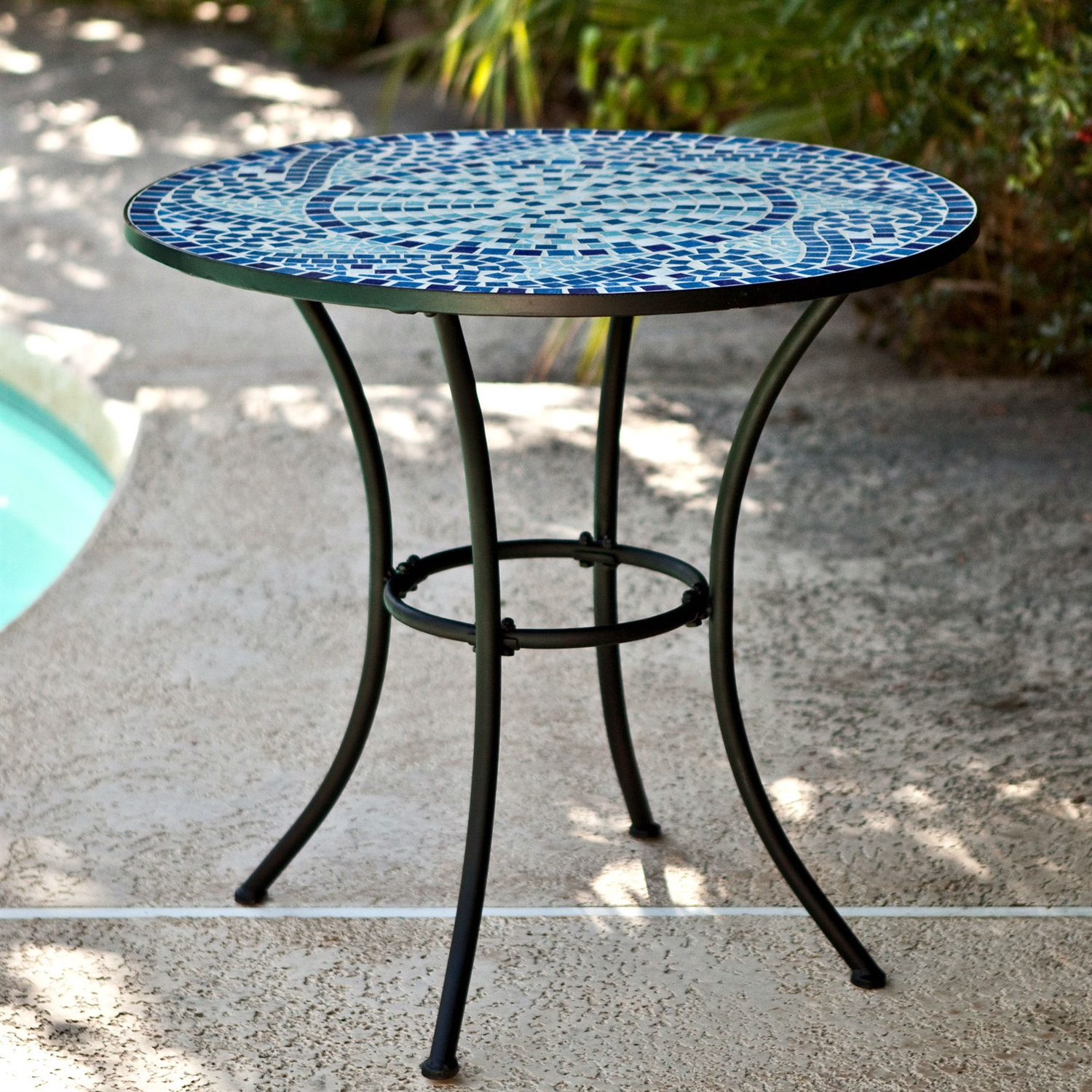 30 Inch Round Metal Outdoor Bistro Patio Table With Hand Laid Blue Tiles