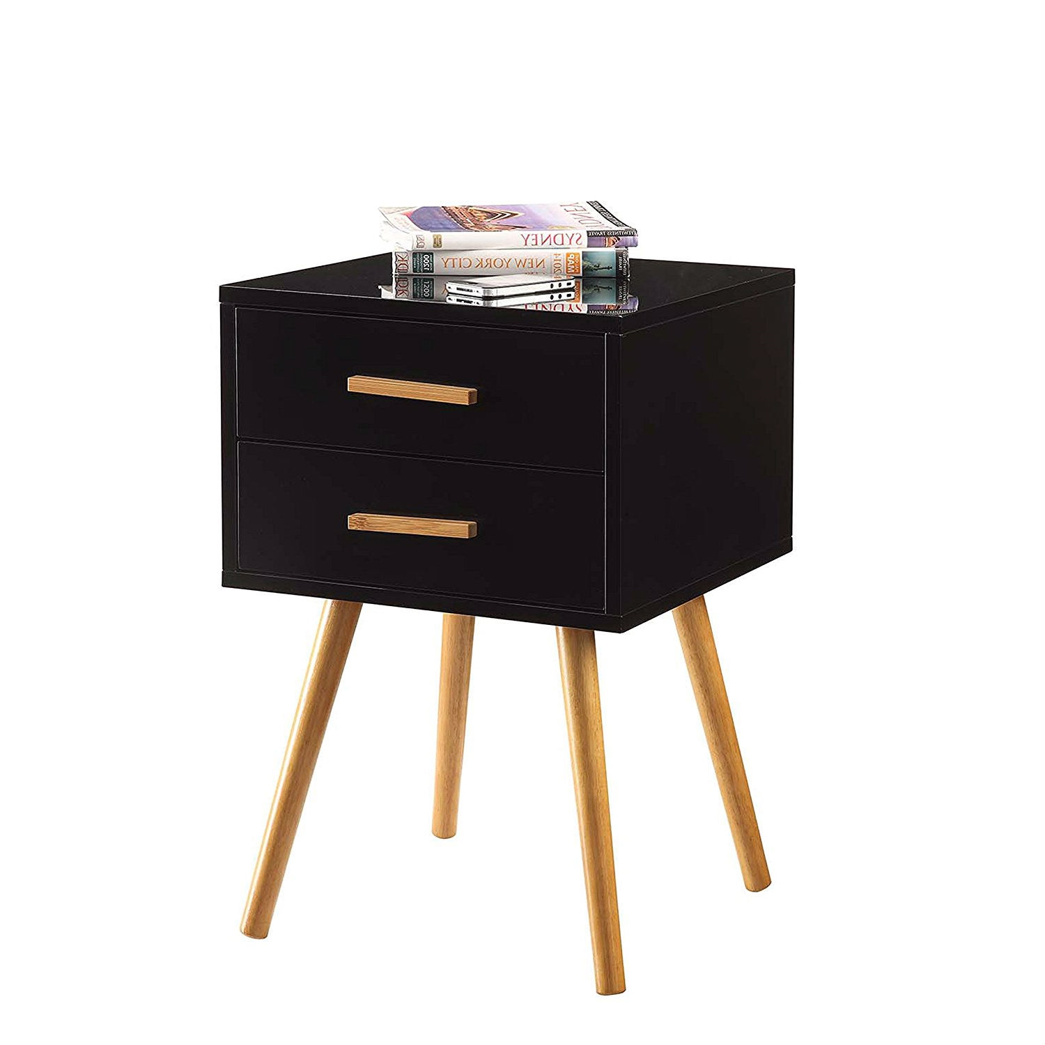 Modern Mid Century Style End Table Nightstand In Black Oak Wood Finish