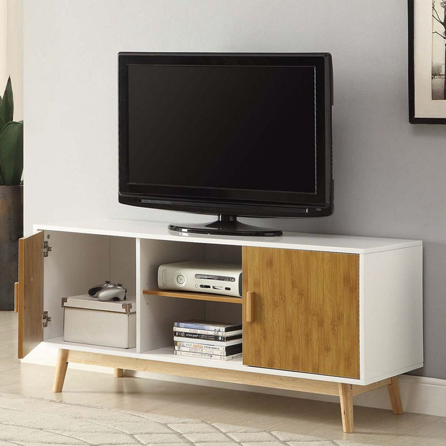 Modern 47 Inch Solid Wood Tv Stand In White Finish And Mid Century