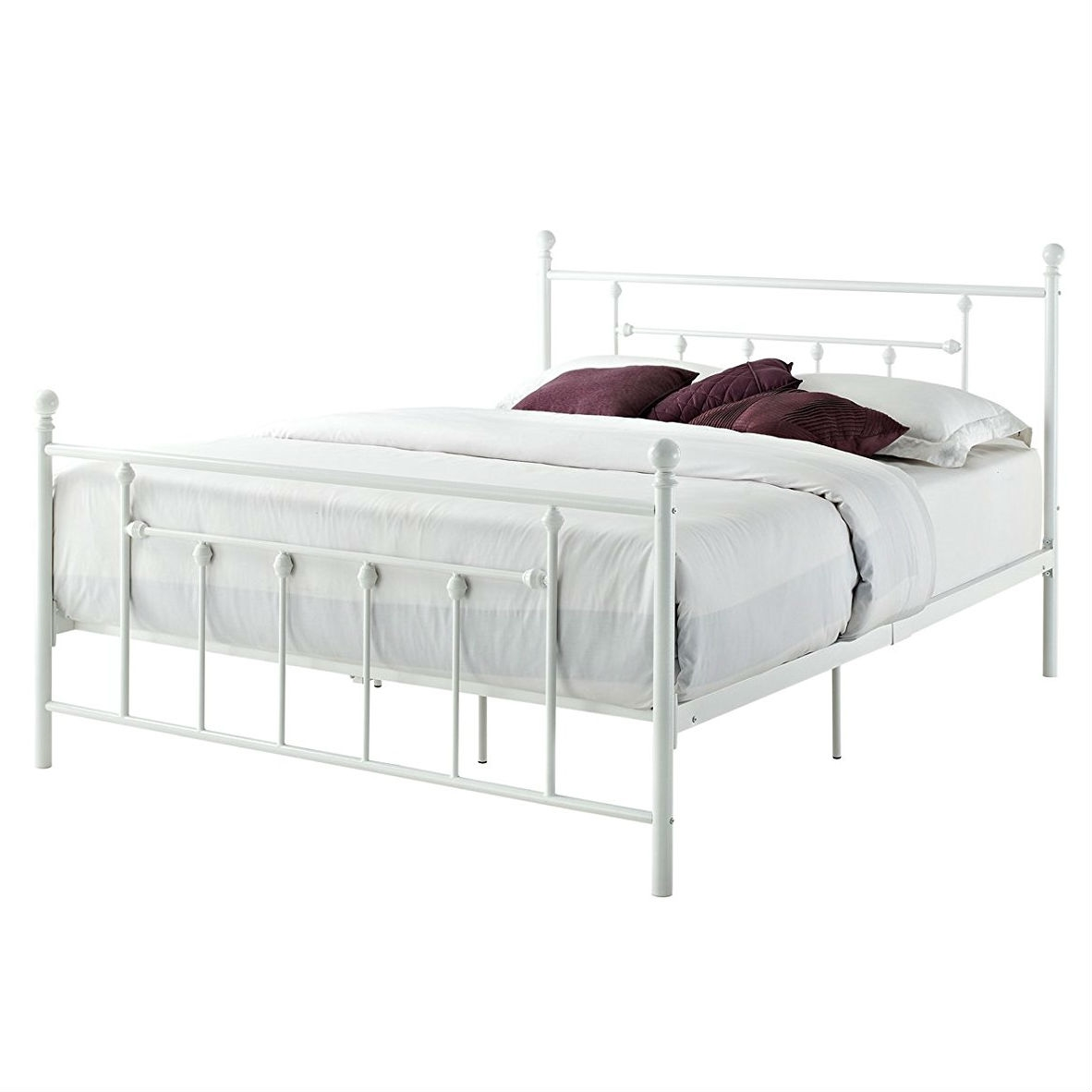 Full Size White Metal Platform Bed Frame With Headboard And