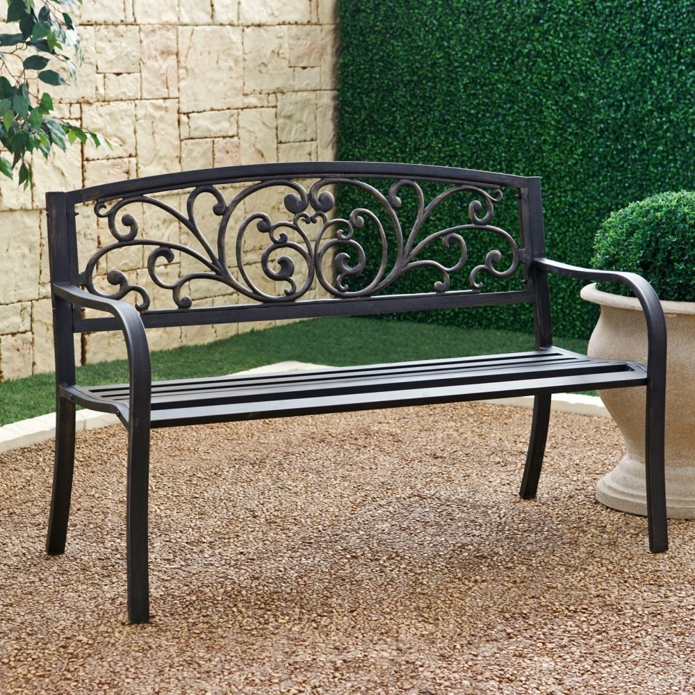Outdoor garden bench with slatted seat and rustic metal for Metal benches for outdoors