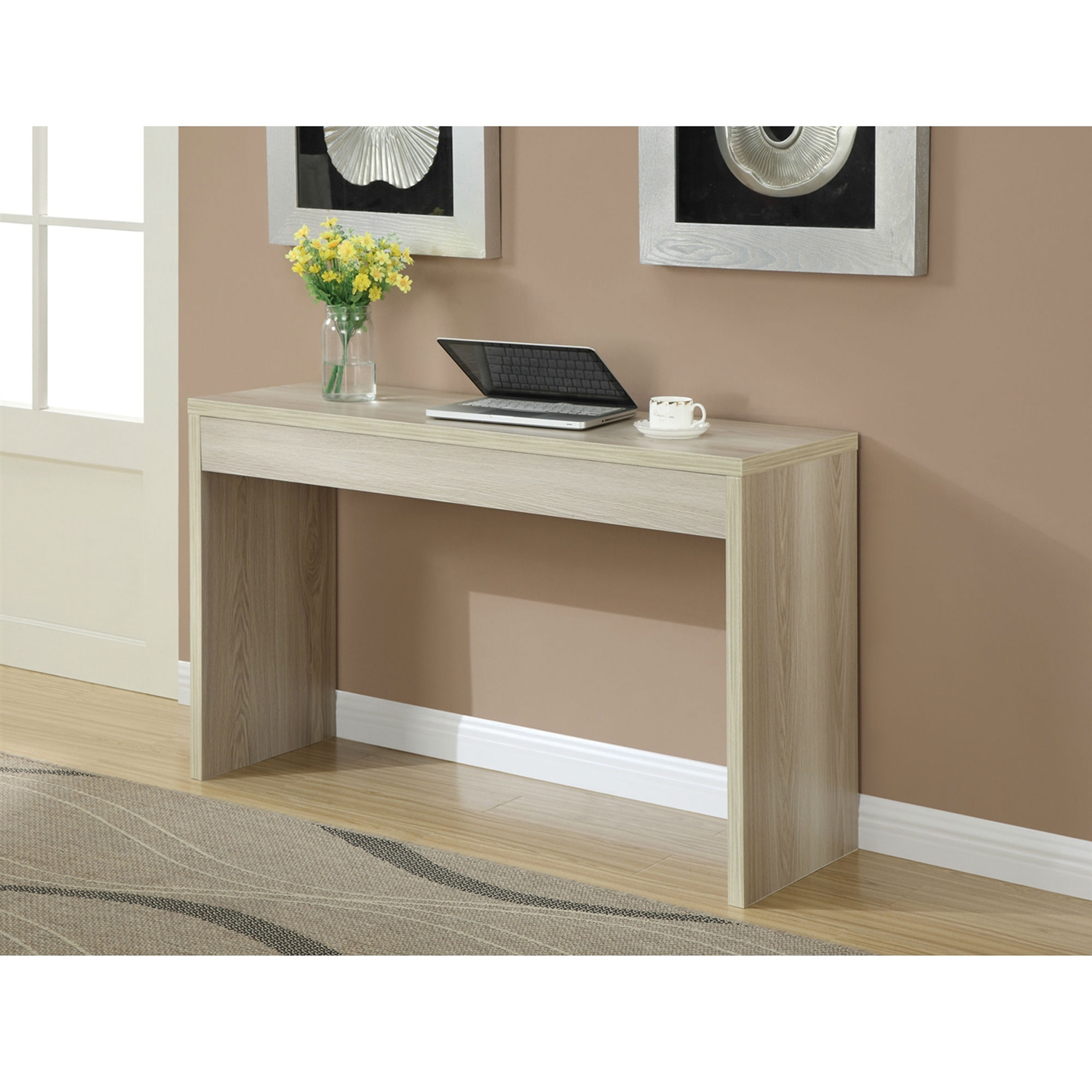 Contemporary Sofa Table Console Table in Weathered White Wood
