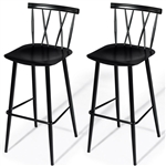 Set of 2 Black Steel Barstool Dining Chairs
