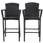 Set of 2 47-inch Bar Height Brown Rattan Chairs
