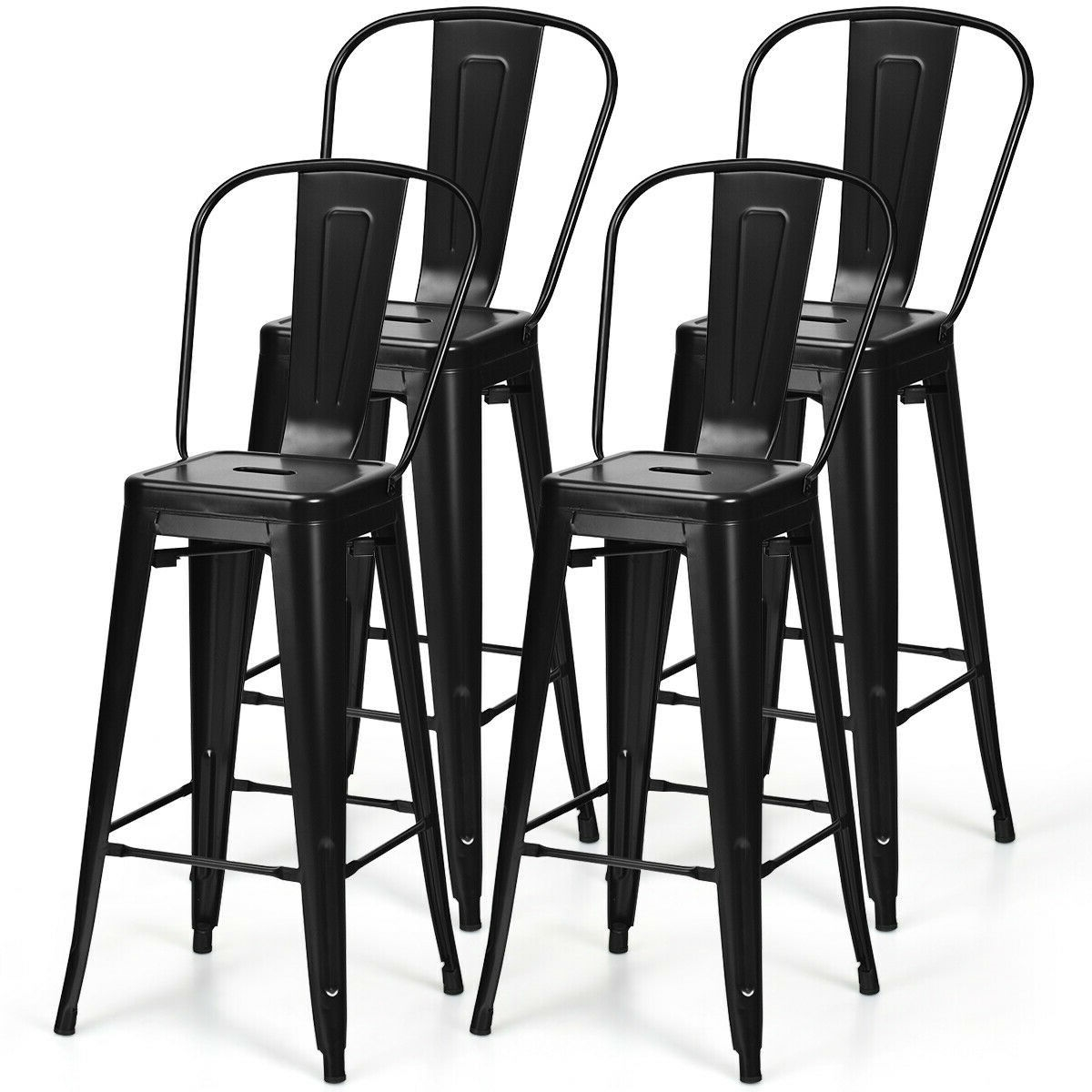 Remarkable Set Of 4 Black 30 Height High Back Metal Industrial Bar Stools Ncnpc Chair Design For Home Ncnpcorg