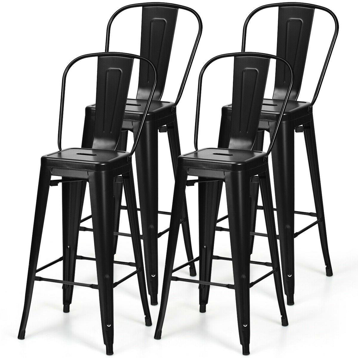 Magnificent Set Of 4 Black 30 Height High Back Metal Industrial Bar Stools Forskolin Free Trial Chair Design Images Forskolin Free Trialorg
