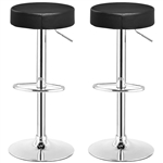 Set of 2 Black Adjustable Round Faux Leather Swivel Bar Stools
