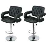 Set of 2 Black Faux Leather Swivel Bar Stools Adjustable Pub Chair
