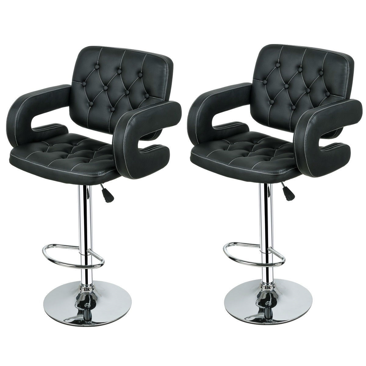 Picture of: Set Of 2 Black Faux Leather Swivel Bar Stools Adjustable Pub Chair Fastfurnishings Com