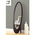 Modern Oval Cheval Floor Mirror in Cappuccino