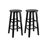 Set of 2 Black 24 in. Square Leg Counter Stools