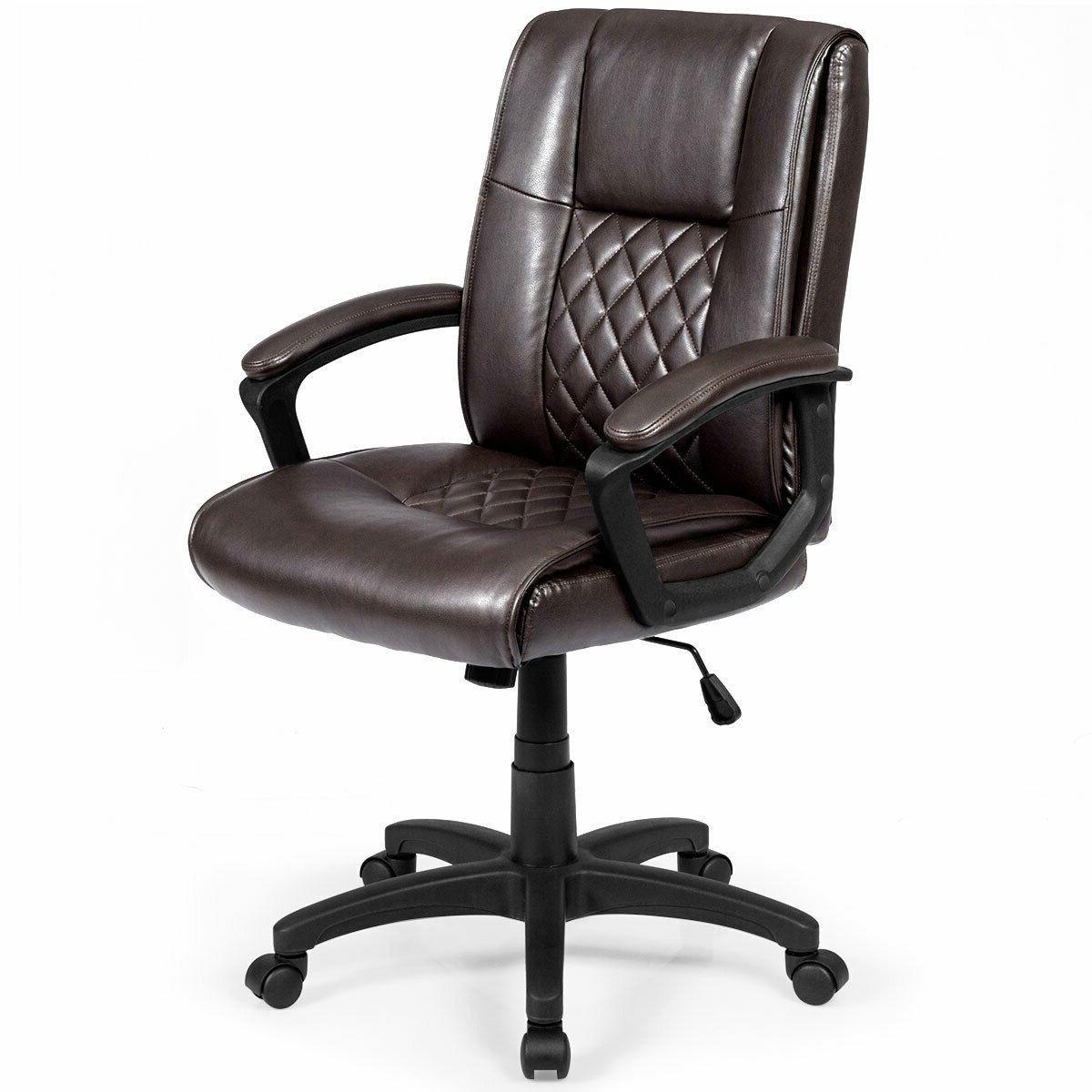 Phenomenal Ergonomic Brown Faux Leather Mid Back Office Chair Spiritservingveterans Wood Chair Design Ideas Spiritservingveteransorg
