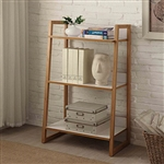 Modern Bookcase with 3 Shelves in Bamboo/White Finish
