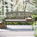Outdoor Curved Back 5-Ft Garden Bench with Arms in Driftwood Finish