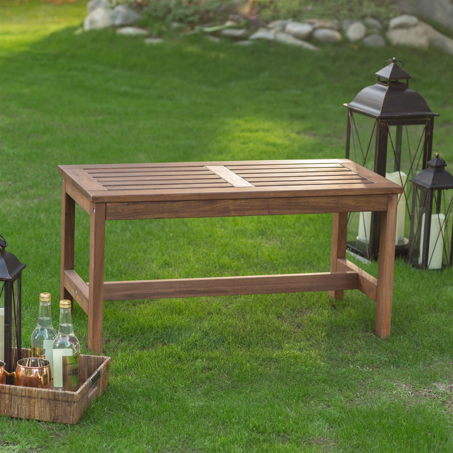 Brilliant 3 Ft Outdoor Backless Garden Bench In Dark Brown Wood Finish Dailytribune Chair Design For Home Dailytribuneorg