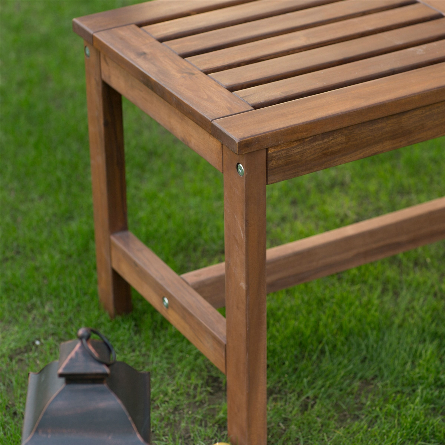 3 Ft Outdoor Backless Garden Bench In Dark Brown Wood