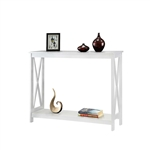 White Wood Console Sofa Table with Bottom Storage Shelf