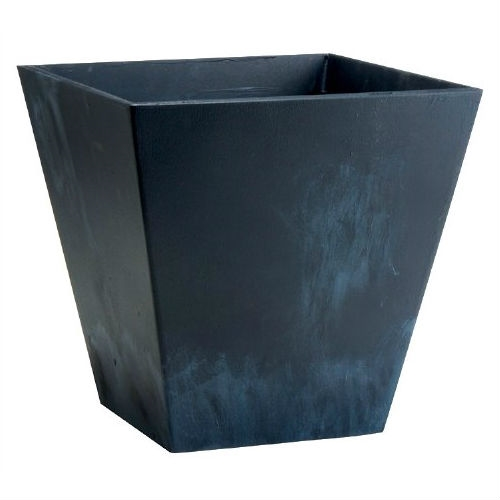 Contemporary 12 Inch Square Planter In Black Plastic