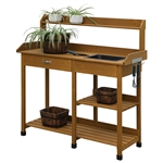 Modern Garden Potting Bench Table with Sink Storage Shelves & Drawer